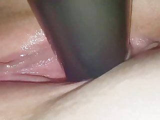 Black Dildo in my tight pink pussy