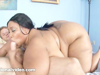 Ebony BBW Cotton Candi Fucks Huge White Cock