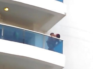 Couple fucking on balcony
