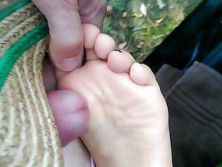 Footjob with wedges heels