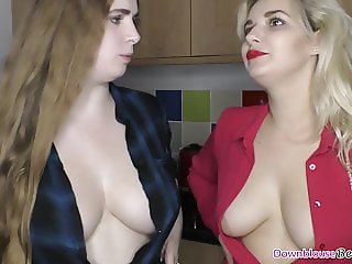 Hot ass babes with big natural tits showing downblouse