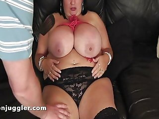 Meows big tits in bondage