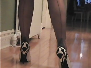 Grey Stockings in Black and White Shoes