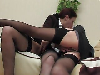 Two business ladies in stockings