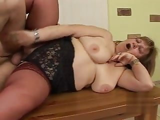 Grandma Susanna fucks her girlfriend's son