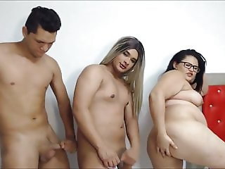 Girl Boy and Tranny threesome webcam show group bbw girl ass