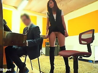 Naughty Teacher with no panties prank with a real student