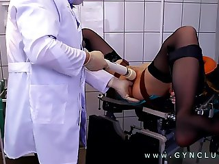 Hard gyno orgasm on gyno chair