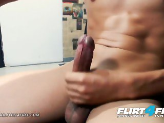 Klein Dar on Flirt4Free - College Latino Stud Strokes Monster Cock Up Close