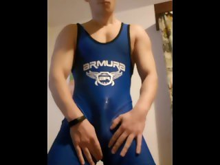 cumming through my wrestling singlet