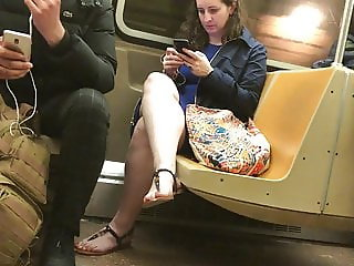 Milf With Sexy Feet in Sandals on Train