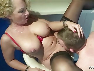 Saggy Tits Mother Bi Jenny love to Fuck with Young Boy Dicks