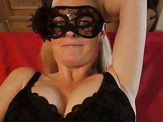 Adorable MILF In Mask Receives Messy Creampie with Her Boss