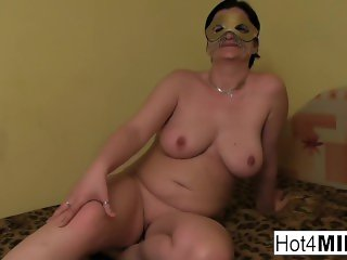 Amateur MILF in a mask sucks and fucks