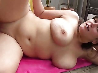 While Husband At Work Chubby Wife Takes Creampie By Neighbor