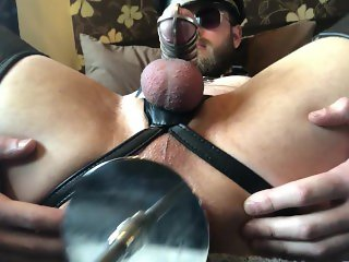 Leather Lad Machine Milks Prostate To Hands Free Assgasm