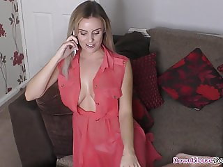 Sexy ass blonde with natural tits talking on the phone