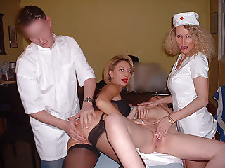 3 amateur nurses on the young doctor