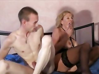 Shameless MILF in Stockings Loves Hot Creampie By Teen Boy