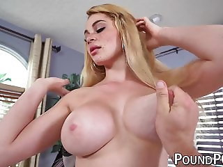 Freckly beauty with big tits drilled with big fat POV dick