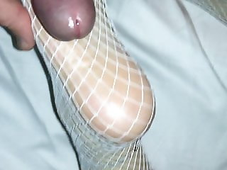 White fishnet stocking footjob