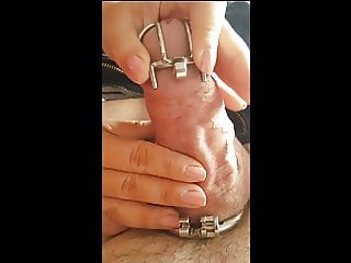 Hubby Forced into Tiny Chastity Cage