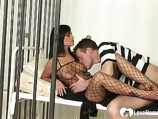 Sexy chick in a fishnet outfit gets poked