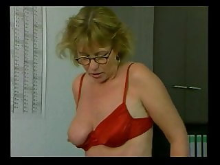 Mature Red Satin Lingerie & Stockings Fucked in the Office