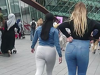Candid Big Ass Teen Tight Jeans & Tight Grey Leggings PAWG