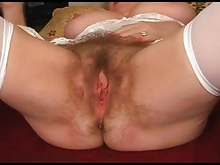 Unshaven hairy armpits and pussy of grandmother Busty