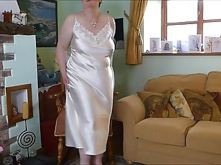 Ultra Gloss Cream Long Satin Nightie