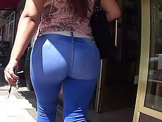 Firm Latina Butt In Tight Stretch Blue Jeans