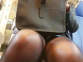 Pantyhose legs and semi upskirt