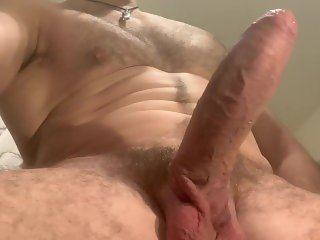 Hung uncut hairy Muscle Daddy play with his foreskin, asshole and precum