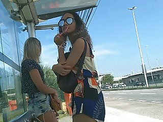 masturbation at the bus stop for two girls
