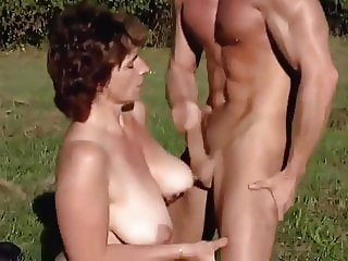 Milf outdoor fuck by a young man