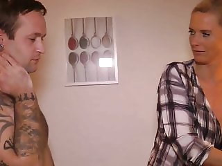 naughty mature milf takes creampie by her new lucky neighbor
