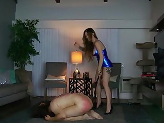 The beautiful Goddess Harley whipping a slave