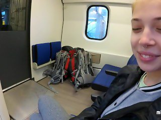 Real Public Blowjob in the Train  POV Oral Creampie by MihaNika69