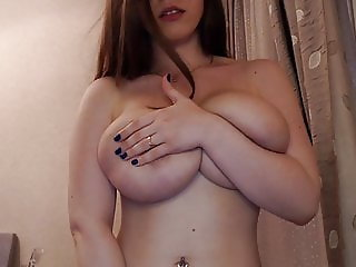 slim busty nerdy girl plays with her big boobs and pussy