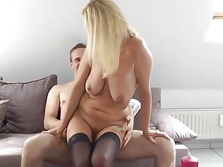 busty cougar milf in stockings loves her young roommate