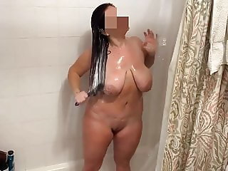 Sexy milf showering does not want to be part of a film