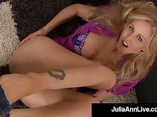 Beautiful Cougar Julia Ann Blows Cock & Spits Cum On Feet!