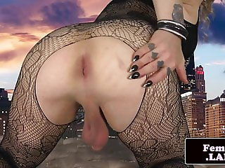 Tattooed shemale debutante fingering her ass