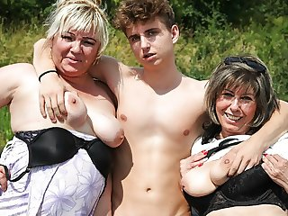 Horny Grandmas Take Hitchhiker for a Ride