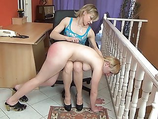 Strict lady boss spanks her lazy employee
