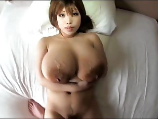 Big load on huge Japanese tits