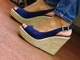 Ebony in slinback wedges heels