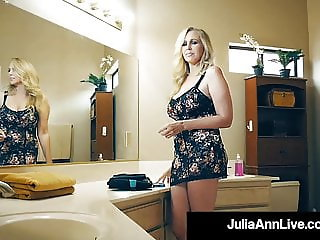 Hot Busty Milf Julia Ann Pleasures Lucky Fan's Hard Cock!