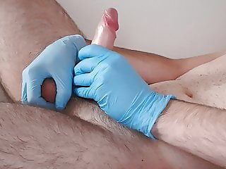 Heterosexual gloves handjob